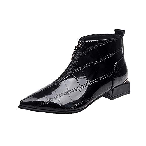 HYIRI New Classic Zipper Thick Snow Boots,Women Fashion Solid Leather Round Toe Shoes Black