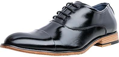 FOCUS STEP Men's Cap-Toe Oxford Shoes Simple Classic Dress Shoes (12 D(M) US, Black)