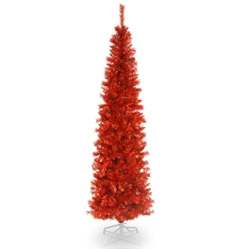 National Tree 6 Foot Red Tinsel Tree with Metal Stand (TT33-705-60) (Red Tree Artificial Christmas)