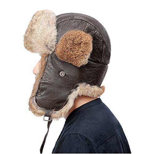 (Winter Bomber Hat Rabbit Fur Hats Ushanka Leather Trapper Aviator Cap Earflaps)