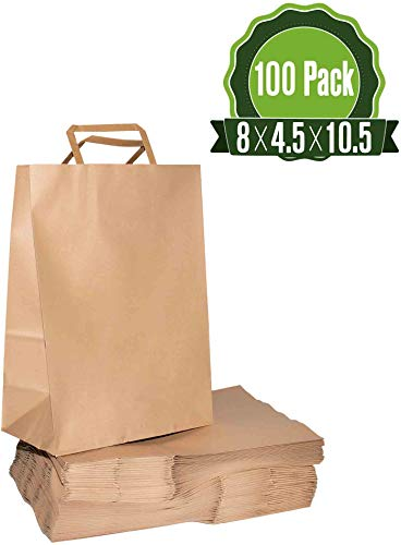Brown Kraft Paper Gift Bags Bulk with Flat Handles 100Pc [ Ideal for Shopping, Packaging, Retail, Party, Craft, Gifts, Wedding, Recycled, Business, Goody and Merchandise Bag] -