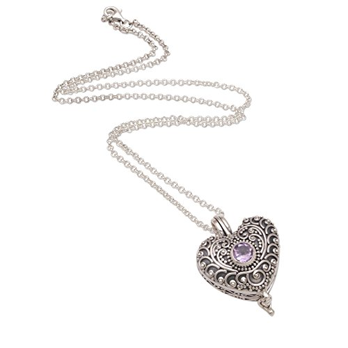 (NOVICA Amethyst .925 Sterling Silver Heart Shaped Necklace, 19.75