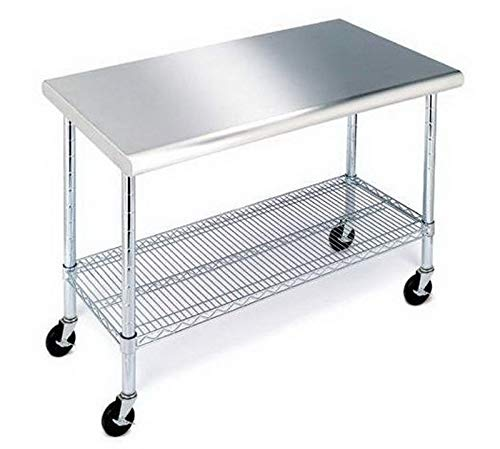 lunanice Rolling 304 Stainless Steel Top Work Table NSF Metal Kitchen 49