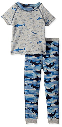 Mud Pie Baby Boys Camo Shark Short Sleeve 2 Pc Pajamas Set, Blue, 2T