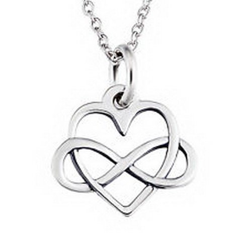 jacob alex #40635 925 Sterling Silver Open Infinity Heart Necklace Eternal Love Pendant CHAIN by jacob alex