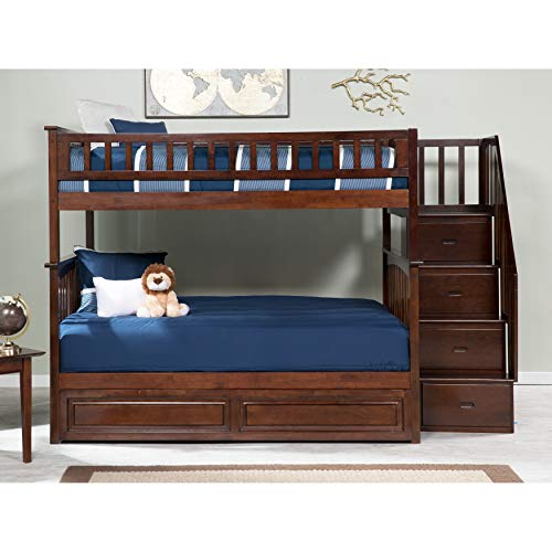 Atlantic Furniture Columbia Staircase Bunk Bed Full Over Full with Raised Panel Trundle Bed in Walnut
