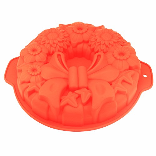 X-Haibei Round Holiday Wreath Bundt Jello Cake Pan Silicone Baking Shallow Mold 10inch