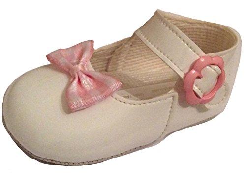 Bebé niñas Baypods zapatos de color blanco con rosa y blanco lazo–newlyborn a 18meses Talla:0 hasta 3 meses
