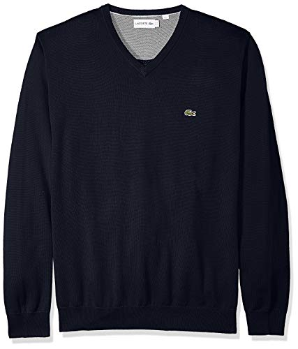 (Lacoste Men's Long Sleeve Half Moon V Neck Jersey Sweater, Flour/Navy Blue, XXX-Large)