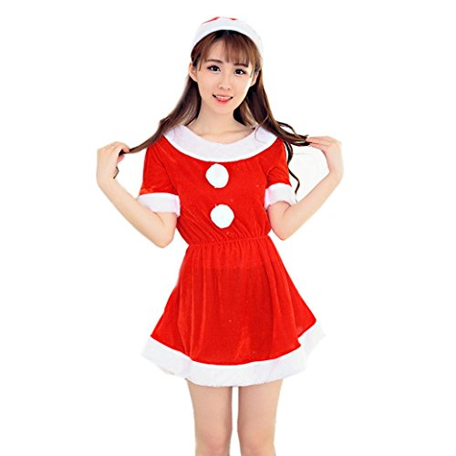 3 Female Costumes (Christmas XMAS Nightwear, Sunfei Women Sexy Santa Christmas Costume Fancy Dress Xmas Office Party Outfit (Red 3))