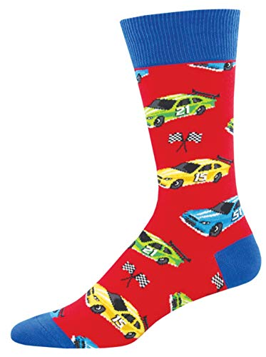 Socksmith Mens Novelty Crew Socks Pit Stop - One Size (Red)