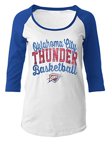 NBA Oklahoma City Thunder Women's 100% Cotton Baby Jersey 3/4 Sleeve Scoop Neck Tee, Large, Blue