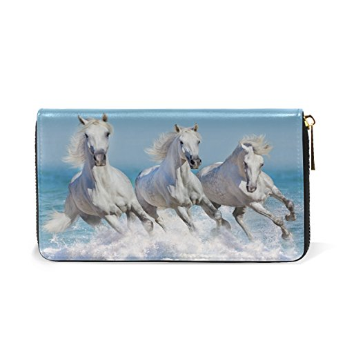 Leather Wallet Handbag ALAZA Clutch Long Horse genuine Leather Blue4 Different Purse Animal q8CqP0