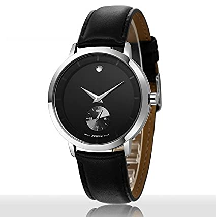 Fashion Business Design Black Dial Leather Strap Quartz Wrist Watch, Reloj De Hombre, Relojes