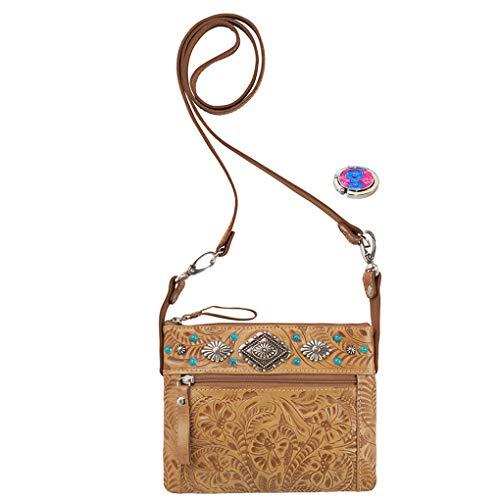 American West Leather - Small Cross Body Handbag - Purse Holder Bundle - (Tan - Belt Bag -Trail Rider)