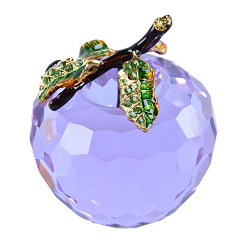 LONGWIN Crystal Apple Figurine Paperweight 60mm (2.4 inch) Cut Faceted Glass Christmas Decoration Onaments - Glass Crystal Purple Cut