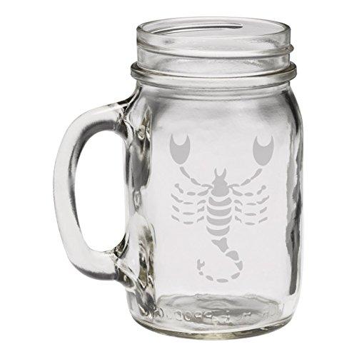 Scorpio Zodiac Symbol Silhouette 8th Sign Scorpion - 12 oz Mason Jar (Scorpion Symbol)
