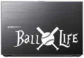 "BALL LIFE Baseball Funny Vinyl Decal Sticker Car Window bumper laptop tablet 7/"""