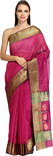 Exotic India Carmine-Pink Chanderi Sari with Brocaded Border and Small Bootis (Pink Indian Sari Adult Costume)