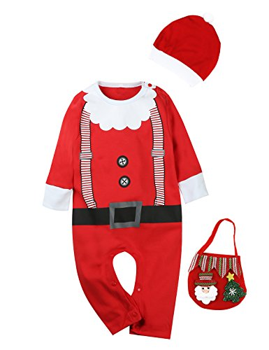 Santa Claus Girl Costumes (Little Fancy 3PCS Infant Outfit Set Baby Boys Girls Christmas Santa Claus Costume Romper (0-3 Months))