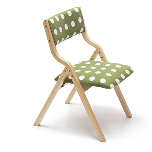 Wooden Folding Chair Backrest which can be Used Desk Dining Makeup Child Learning Chair Home & Commercial Green Polka ()