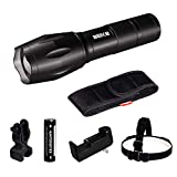Beike S116A Ultra Bright LED Tactical Flashlights, Zoomable Adjustable Focus 5 Modes Water Resistant Handheld Light with Rechargeable Battery, Charger, Headlamp, Rotatable Bike Mount and Holster