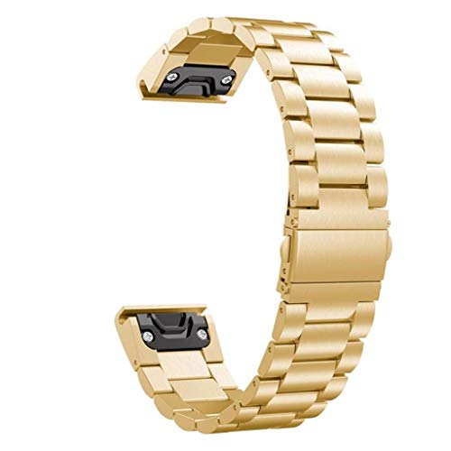 AutumnFall Luxury Stainless Steel Quick Release Easy Fit Wirstband New for Garmin MARQ 5 Style (Gold)