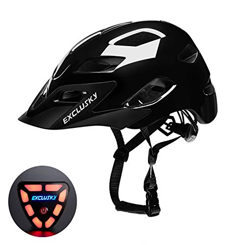 Exclusky Adult Road Bike Helmet with USB Rear Light, CPSC Certified Bicycle Cycling Helmets, Adjustable Lightweight Helmet for Urban Commuter Women Men, 22.05-24.01 Inches (Black Glossy)