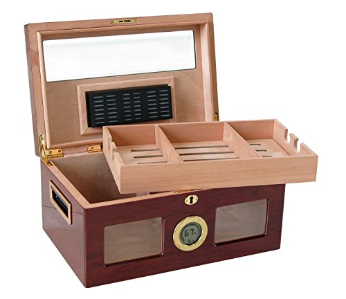 Prestige Import Group - The Valencia Digital Glass Top Cigar Humidor - Color: Golden Cherry by Prestige Import Group