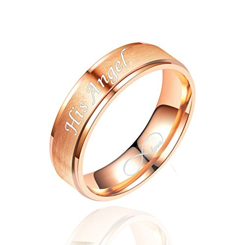 Daesar 1PCS Stainless Steel Rings Women Rings Adjustable Ring Engraved Her Demon & Angel His Commitment Ring Rose Gold Trio Ring Size 8