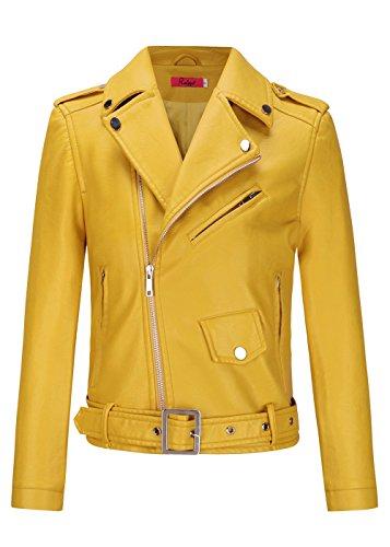 De Veste Femme Cuir Veste Slim Moto en Revers Fit Classique Biker Courte Jaune Col pP0fq