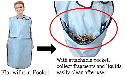 ObboMed MG-1600 Newly Designed Attachable Upper Pocket of Apron Clothing Protector, Adult Waterproof Bib, Keep Mealtime Neat for Patient, Senior, Elder, People with Limited Mobility, 24