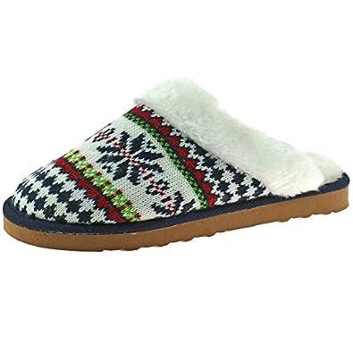 Women's Dunlop Fair Isle Knitted Fur Trim Mule Slippers: Amazon.co ...