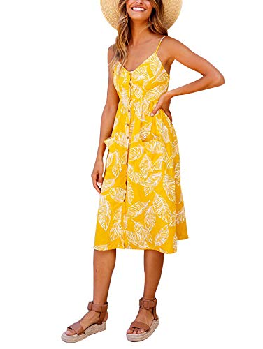 Check Summer Dress - SWQZVT Women's Dress Summer Spaghetti Strap Sundress Casual Floral Midi Backless Button Up Swing Dresses with Pockets Yellow-1 S