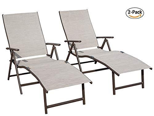 Kozyard Cozy Aluminum Beach Yard Pool Folding Reclining Adjustable Chaise Lounge Chair (2, Beige) by Kozyard (Image #6)