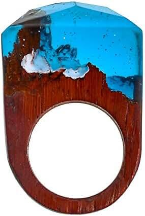 TENGZHEN Jewelry Handmade Wood Resin Rings Magical Miniature Snow Worlds Inside Ring Jewelry For Womens