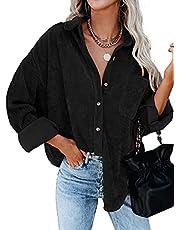 wkwmrpet Womens Corduroy Button Down Shirts Boyfriend Long Sleeve Oversized Jacket Tops