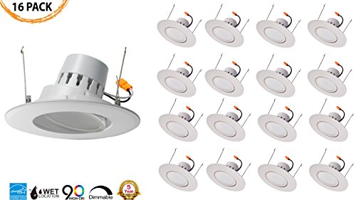 5/6'' Inch LED Adjustable Rotating Downlight 16.5W= (100w Equivalent) Damp Location Rated; 25,000 Life Hours; Dimmable to 5%; 5 YR Warranty; 1200 Lumens; CRYSTAL WHITE GLOW 5000K- (16 PACK) by QUEST MANUFACTURING