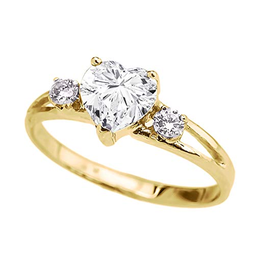 - Precious 10k Yellow Gold CZ Heart Proposal/Promise Ring with White Topaz (Size 9)
