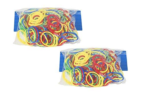 Juego de bandas de goma de colores neón–varios tamaños–85gram bolsa–perfecto para la oficina o...