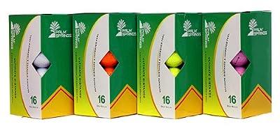 16 Palm Springs Distance Golf Balls - White, Orange, Yellow or Pink