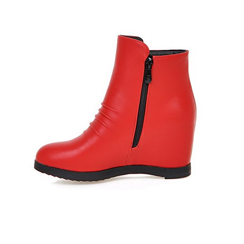 Top Heels Boots Solid AllhqFashion Zipper Womens Low Red High PU txOAOU