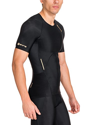 Skins Men's A400 Short Sleeve Compression Top, Black, X-Small by Skins (Image #3)