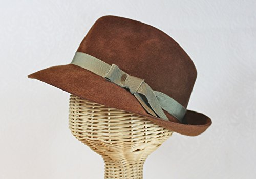 Bacall Women's Velour Felt Fedora in Cognac Brown by Bonnet