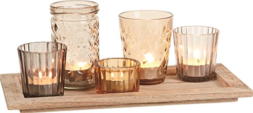 Set of 5 Glass Embossed Design Votive Candle Holders In Wood Tray -