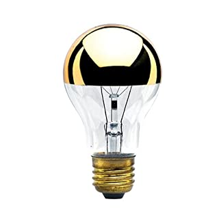 Bulbrite 60A19HG 60-Watt A19 Bulb, Half Gold, Medium Base - 2 Pack