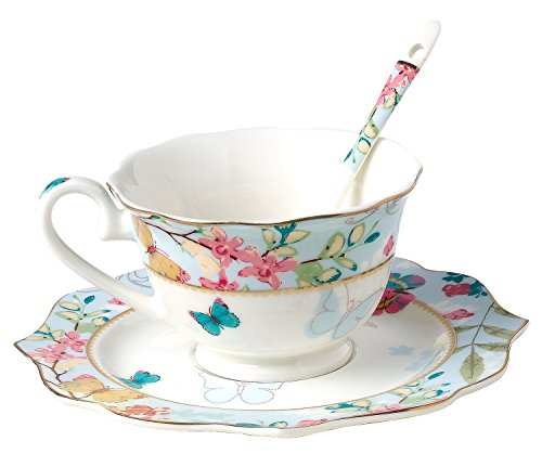 Jusalpha Vintage Butterfly Bone China Teacup Spoon and Saucer Set TCS07 (Blue)
