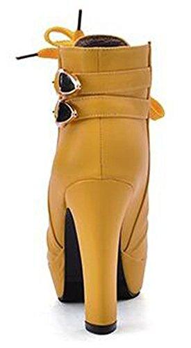 Chfso Donna Sexy Tinta Unita Punta Rotonda Allacciatura Alla Caviglia Con Fibbia Alti Stivali Piattaforma Chunky Tacco Giallo