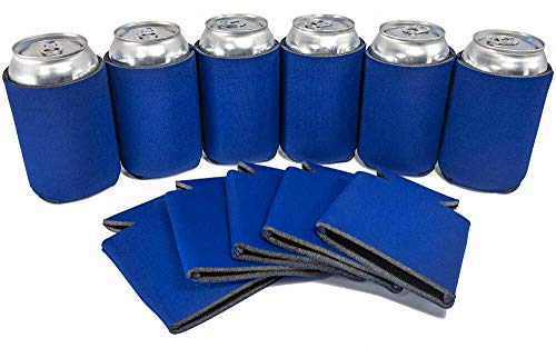 PartyPrints 25 Can Sleeves - Bulk Blank Can Coolers - Royal Blue Beer Sleeves for Cans and Bottles - Blank Drink Coolers - DIY Party Gift