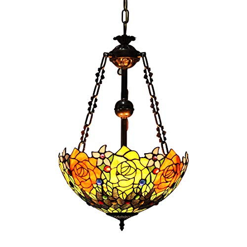 Makenier Vintage Decorative Tiffany Style Stained Glass Rose Big Inverted Ceiling Pendant Lamp Fixture, 16 Inches Shade